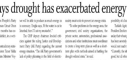 CHP says drought has exacerbated energy deficit – Today's Zaman