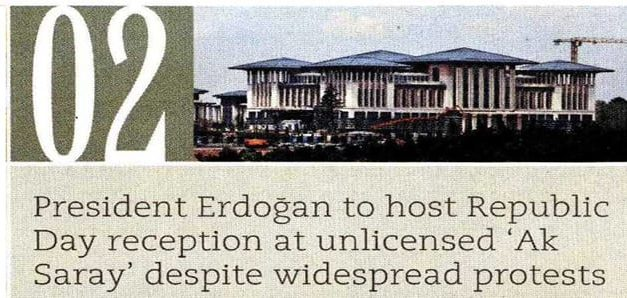 "Erdoğan to host reception at unlicensed ""Ak Saray"" Today's Zaman"