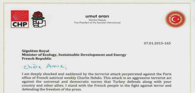 Umut Oran's condolence message regarding the attack against the Charlie Hebdo magazine