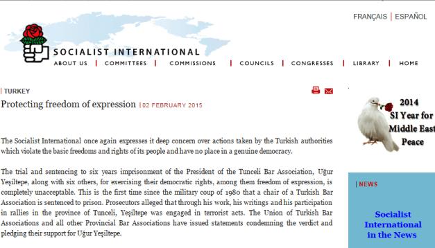 The International Condemnation from Socialist International to Turkey